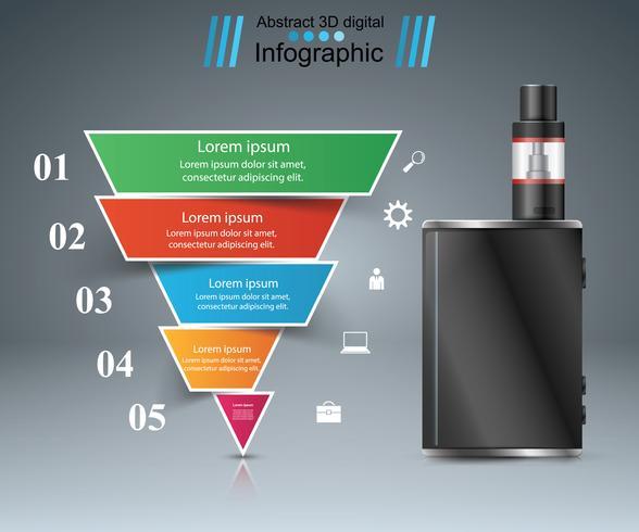 Skadlig cigarett, viper, rök, företagsinfographics. vektor
