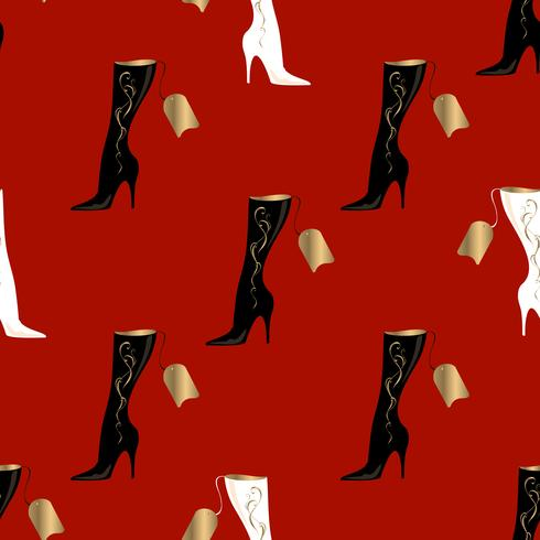 Women's boots. Seamless pattern. Red background.Vector illustration.