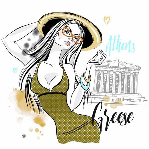 Chica turista en Grecia. Partenón de la Acrópolis de Atenas. Viajar. Vector