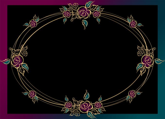 Oval frame . Roses. Gold. Vintage. Vector illustration.