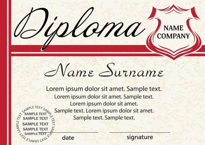 Diploma o certificado de la plantilla. Elegante diseño rojo. Vector