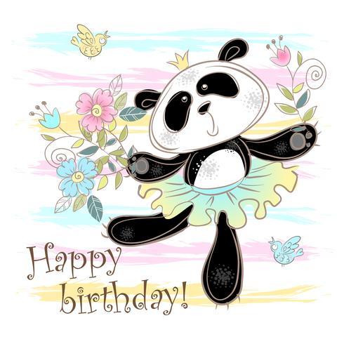 Tarjeta de cumpleaños con un lindo panda en una falda. Vector