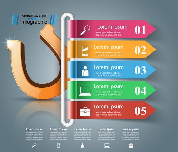 Icono 3d de herradura - infografía de negocios.