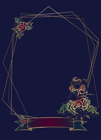 Cuadro. Viñeta. Dama de la vendimia Marco geométrico Fondo azul oscuro Vector. vector