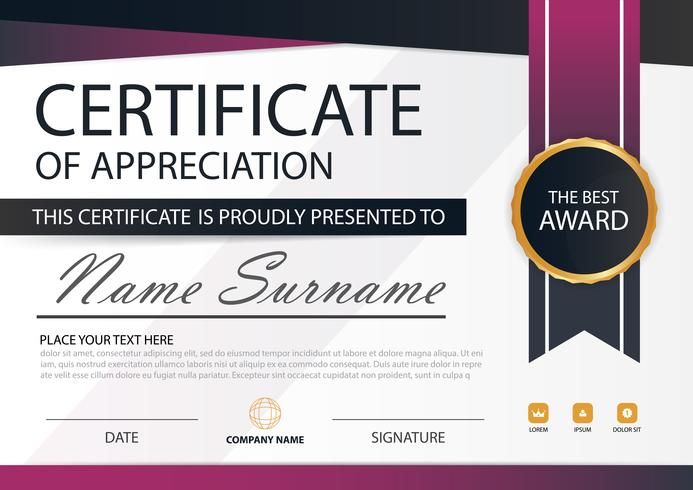 Certificado horizontal de elegancia púrpura con ilustración vectorial, plantilla de certificado de marco blanco con presentación de patrón limpio y moderno