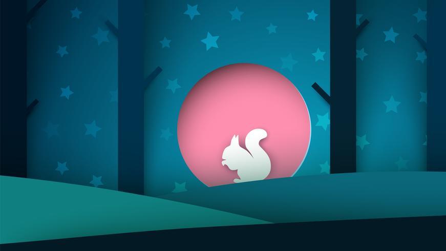 Paisaje de papel de dibujos animados. Ilustración de la ardilla Árbol, estrella, cerro, sol.