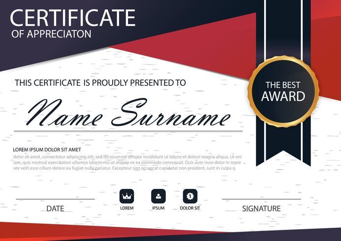 Certificado de círculo horizontal de elegancia negro rojo con ilustración vectorial, plantilla de certificado de marco blanco con presentación de patrón limpio y moderno