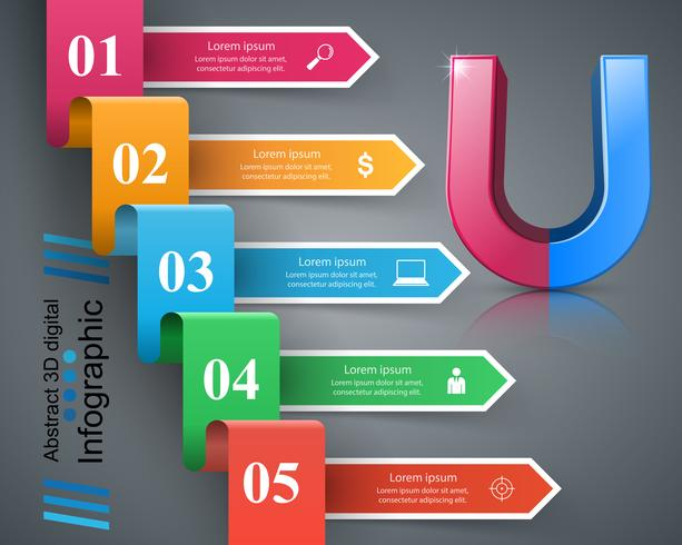 Magnet business color paper infographic. vector