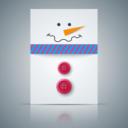 Postal de invierno A4. Ilustración de muñeco de nieve.