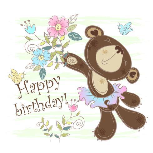 Birthday card with a bear. Vector illustration.