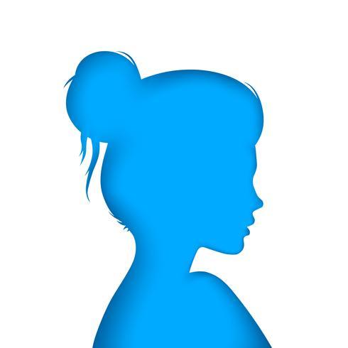Nettes Mädchen - Illustration des blauen Papiers.
