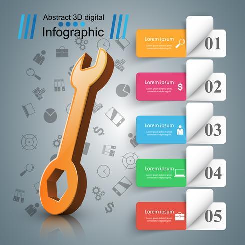 Schraubenschlüssel, Schraubendreher, Reparatursymbol. Geschäft Infografik.
