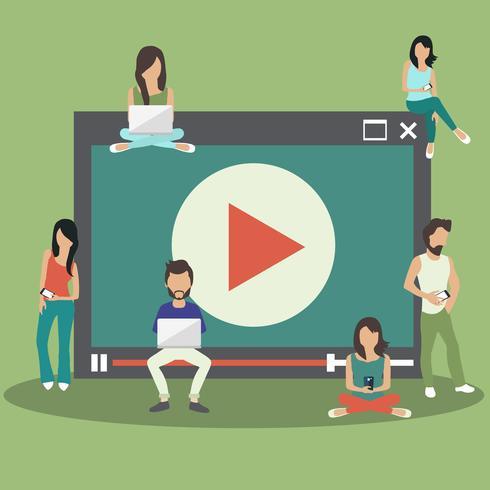 Concept de marketing de médias. Personnes assises sur un grand lecteur multimédia et tenant des ordinateurs portables