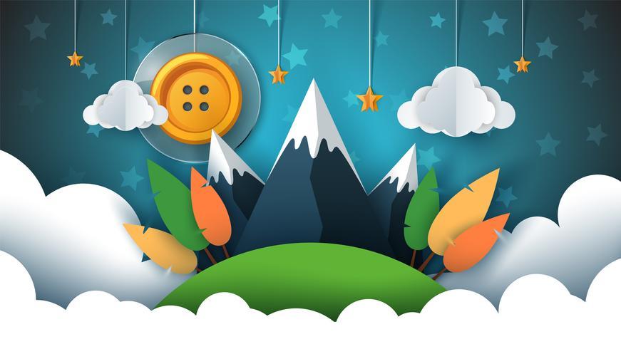 Paisagem de papel dos desenhos animados. Botão de costura, sol, estrela, nuvem, céu, montanha, viagem.