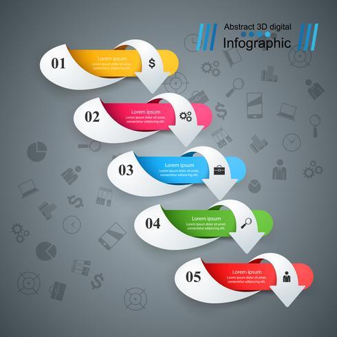 Business infographic. Fem pappersartiklar. vektor