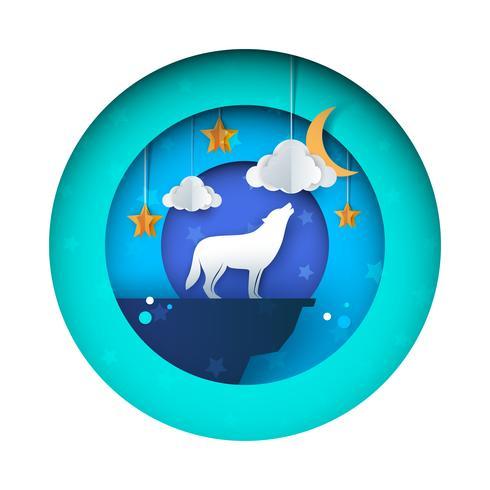 O lobo uiva à lua - ilustração de papel. Estrela, nuvem, céu.