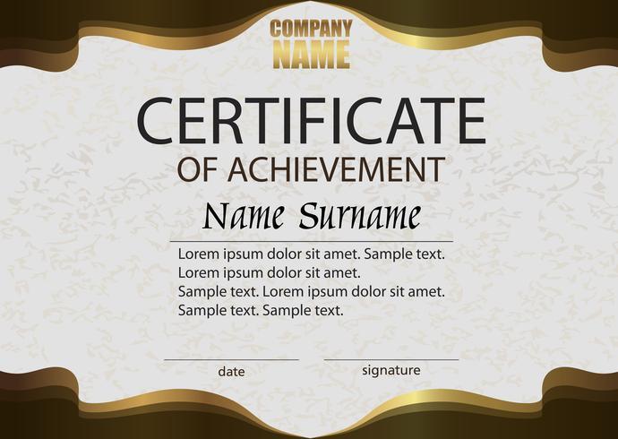 Certificado de conclusão. Recompensa. Ganhando a competição. Vencedor do prêmio. Castanho horizontal com modelo de ouro.