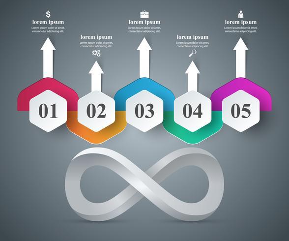 Infografía de papel de negocios. Icono de infinito.