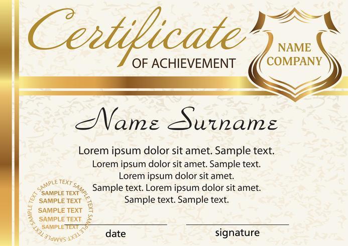 Plantilla de certificado de aprovechamiento. Elegante diseño en oro. Vector