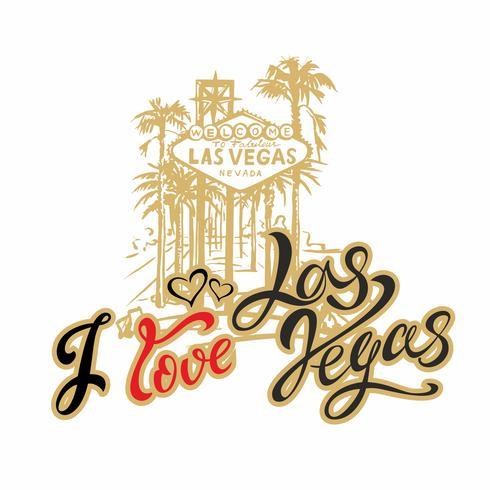 Travel. I love Las Vegas. Lettering. Travelling to America. Vector.