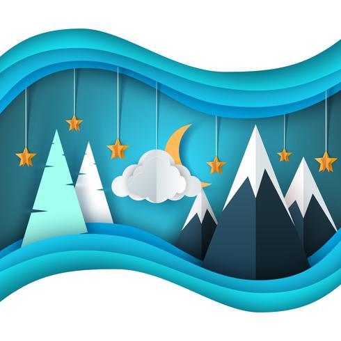 Paisaje de papel de dibujos animados de invierno. Feliz Navidad Feliz Año Nuevo. Abeto, luna, nube, estrella, montaña, nieve. vector