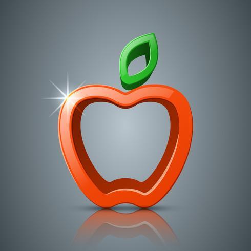 Apple, icône 3d feuille, logo.