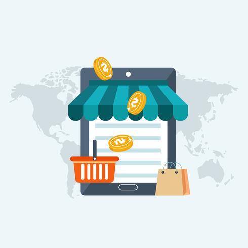 Web loja e no conceito de compras de linha. Comunicação global, internet banking, trading, e-commerce, fazer dinheiro.