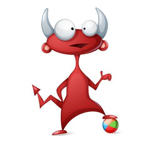 Lustiger, netter Teufel der Karikatur - spielen Sie Fußball, Fußballillustration.