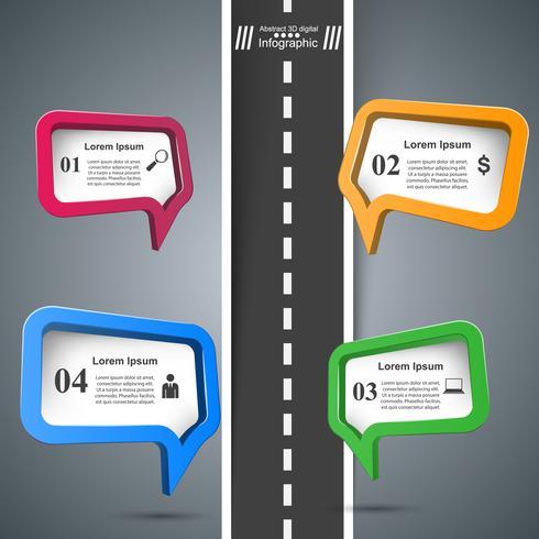 Modello di progettazione infografica strada e icone di marketing.