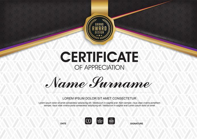 Plantilla de certificado vector de lujo