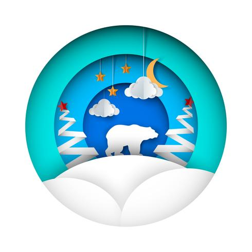 Orso invernale - illustrazione di carta. Nube, luna, stella, abete, neve.