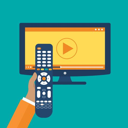 Hand holding remote control. TV icon concept. Play icon on television. Smart TV concept