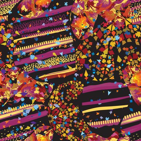 Modelo punteado inconsútil de la hoja abstracta del mosaico. Blondas caóticas decorativas azulejo texturado fondo de cerámica vector