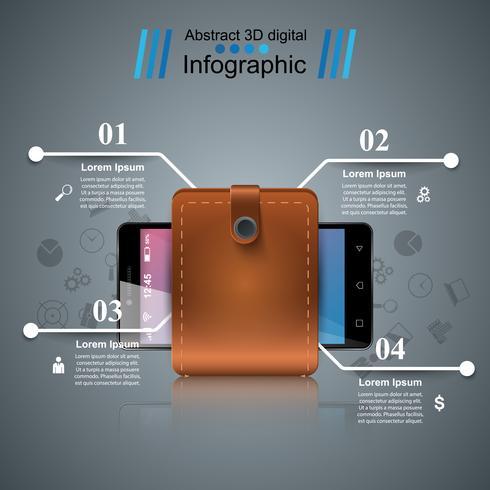 Smartphone, wallet, cash - business infographic. vector