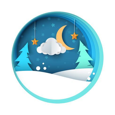 Papier Nacht Abbildung. Tanne, Mond, Wolke, Schnee, Stern.