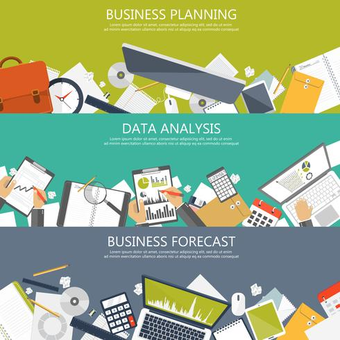 Business planning, data-analyse en business forecast banners voor website