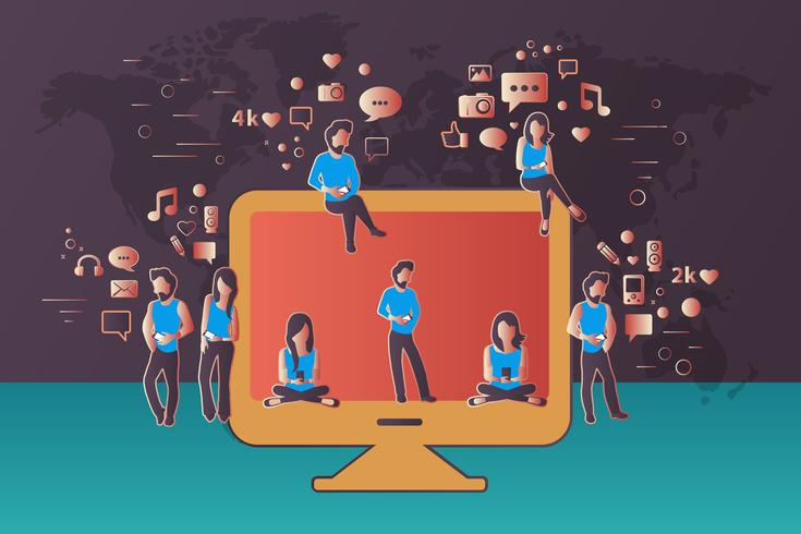 People sitting on big computer monitor. Social network web site