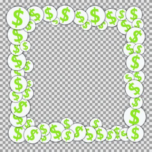 Vectorkader met document stickers met dollartekens