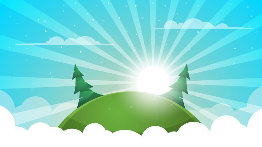 Paisagem dos desenhos animados - ilustração abstrata. Sol, raio, brilho, colina, abeto, nuvem.