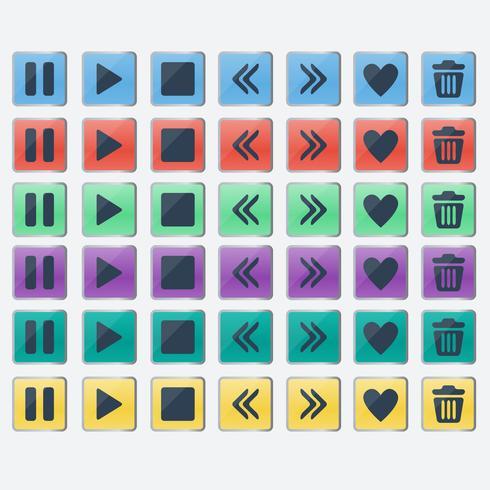 Satz glatte farbige Knopfikonen für Webdesign