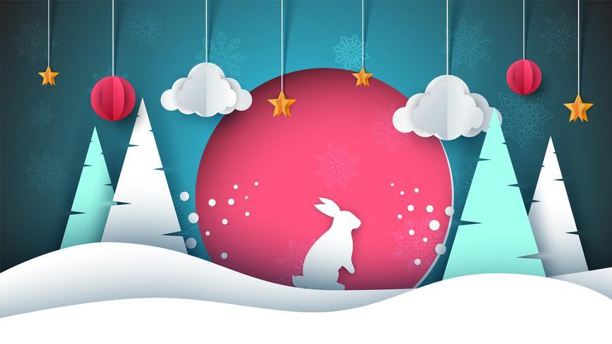 Winter landscape. Paper illustration. Rabbit, sun, fir, cloud, star.
