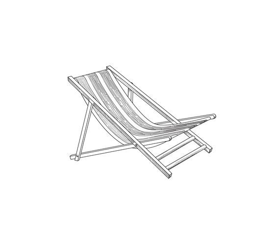Deckchair outline drawing. Deck chair sketch. Summer holiday beach resort symbol vector