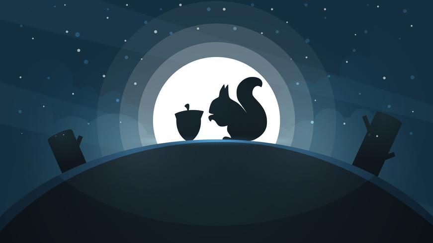 Tecknat papperslandskap. Ekorre illustration. Träd, stjärna, kulle, måne.