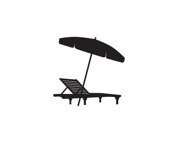 Espreguiçadeira cadeira guarda-chuva verão praia férias ícone símbolo.