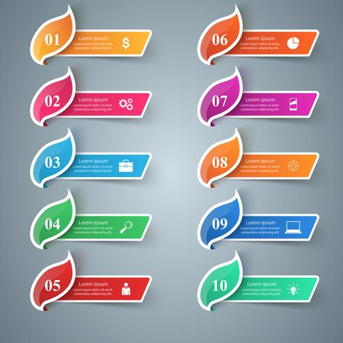 Infográfico de negócios de papel. Ícone de folha. dez itens.