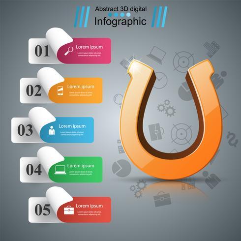 Icône 3d de fer à cheval - infographie de l'entreprise. vecteur