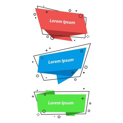 Burbujas geométricas del discurso, pancartas, pegatinas en estilo origami