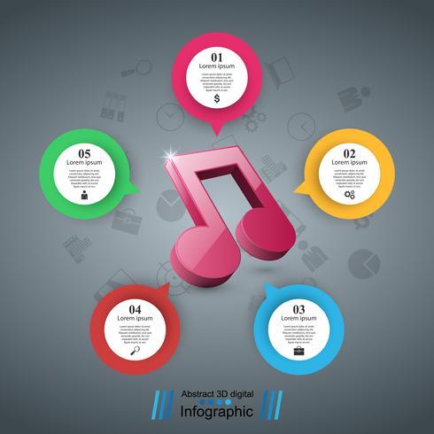 Education musicale infographique. Icône de note. vecteur