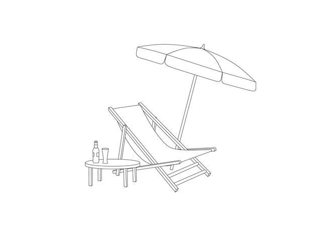 Chaise longue, table, parasol sur la plage. Signe de chaise longue de vacances d'été vecteur