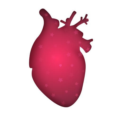 Medisch hart - papieren illustratie op de grijze achtergrond.